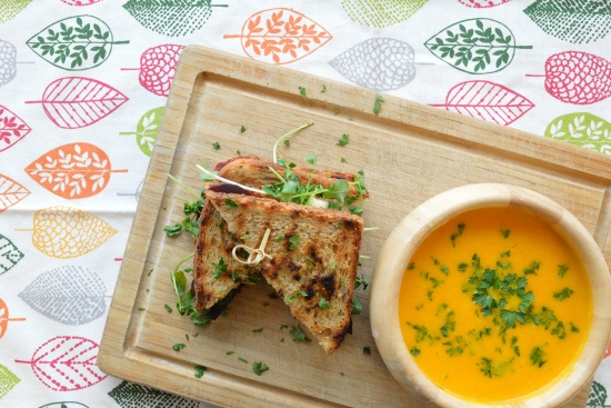 Beet & Feta Grilled Cheese with Roasted Carrot Soup