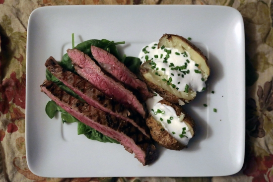 Balsamic Garlic Steak with Spinach & Baked Potatoes