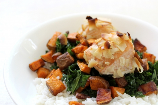 Roasted Coconut Salmon with Sweet Potato & Kale