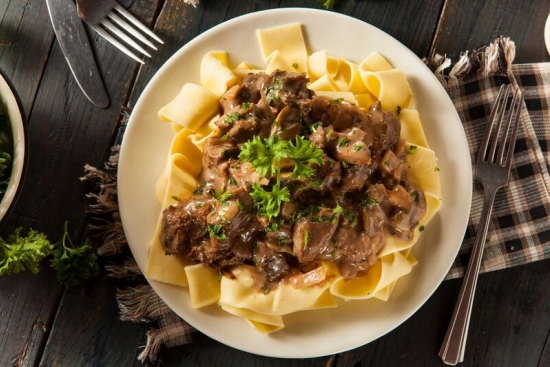 Beef Stroganoff with Creamy Dill Mushrooms