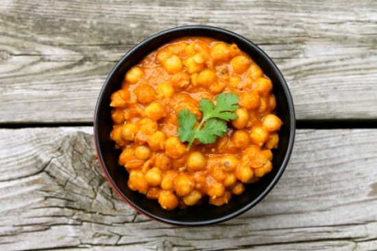 Chickpea Curry with Spinach & Rice
