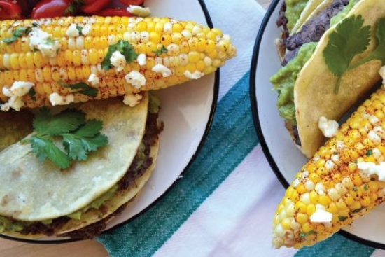 Chili-Lime Mexican Corn & Black Bean Tostadas