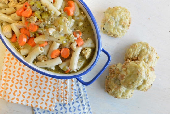 Chunky Chicken Soup with Homemade Biscuits