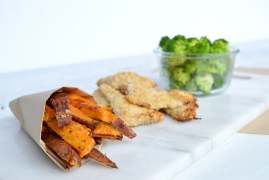 Coconut Chicken Strips with Broccoli & Sweet Potato Fries