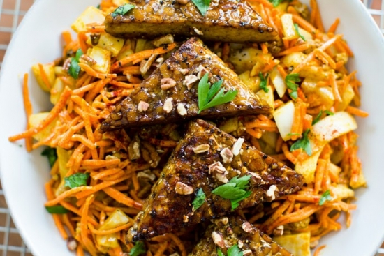 Curried Carrot Slaw with Maple Tempeh Triangles