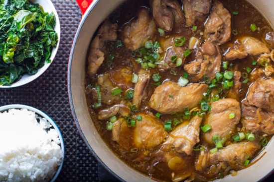Easy Chicken Adobo with Bok Choy & Coconut Rice