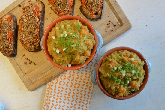 Egyptian Lentil Stew with Carrot Dukkah Toasts
