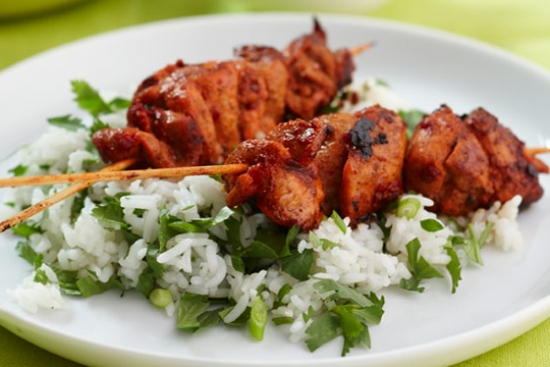 Grilled Tandoori Chicken Skewers over Herbed Cucumber Rice