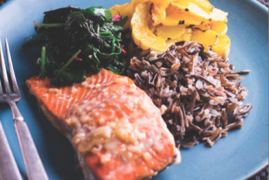 Lemon Maple Salmon with Roasted Squash, Rice & Greens