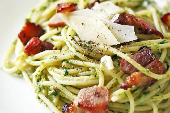 Pasta with Wild Leek Pesto and Roasted Tomatoes