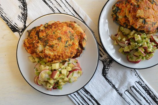 Salmon Fish Cakes with Radish & Celery Salsa