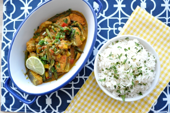 Salmon Coconut Curry with Bell Pepper & Broccoli