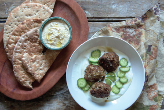 Cumin-Herb Lamb Meatballs with Yogurt, Cucumber & Grilled Pita