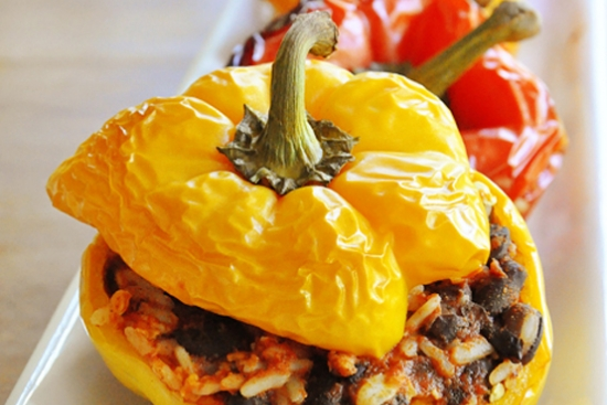 Stuffed Bell Peppers with Black Beans & Rice