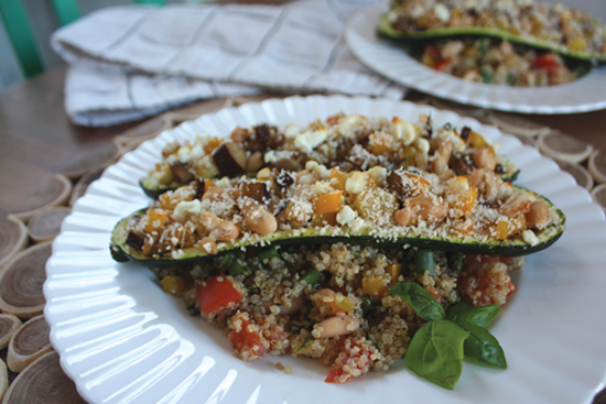 Stuffed Zucchini Boats with Quinoa & Goat Cheese