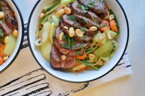 Thai Beef Noodle Bowl with Ginger, Bok Choy & Carrots