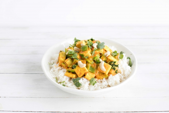 Tomato & Tofu 'Paneer' with Bell Pepper on Rice