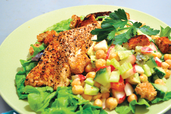 Tuna and Chickpeas with Garlic Croutons & Lemon Sauce