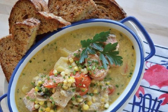 Salmon Chowder with Tomato & Grilled Cheese