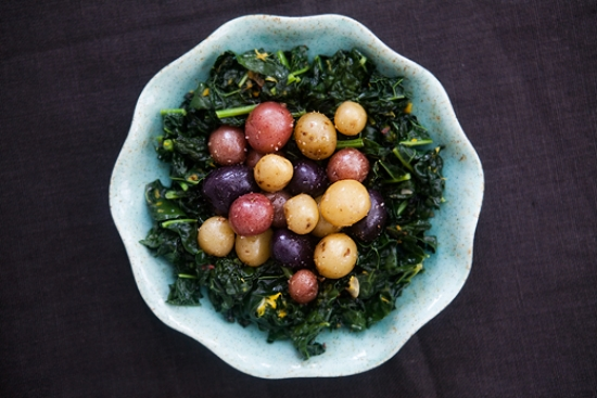 Kale Nest with Multi-Coloured New Potato