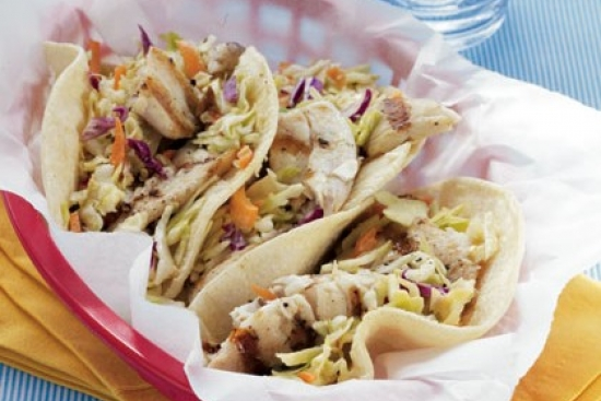 Fish Tacos with Sesame Ginger Slaw
