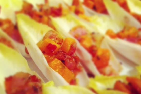 Endive Spears with Sweet Potato, Bacon and Chives