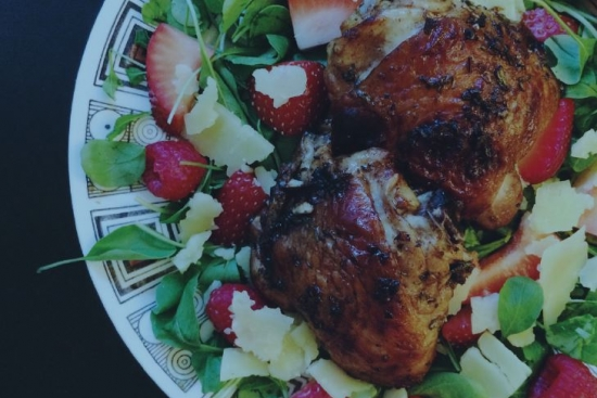 Balsamic Glazed Chicken & Berries on Arugula with Parmesan