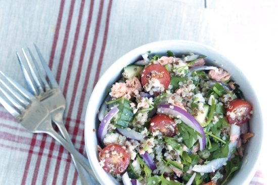 Salmon & Greek-Style Bowl with Quinoa & Grape Tomatoes