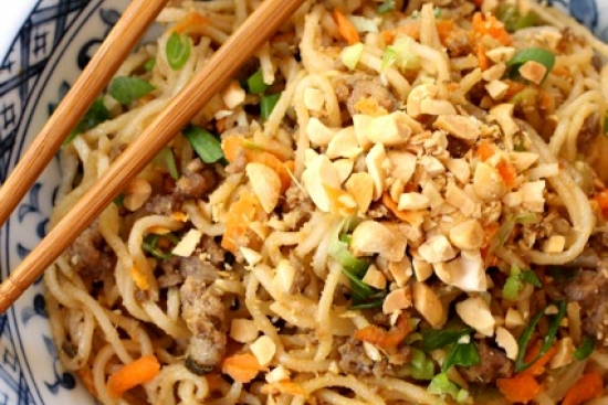 Beef 'Dan Dan' Noodles with Cashews & Carrots