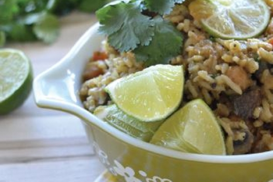 Thai Green Mushroom Curry with Chickpeas & Rice