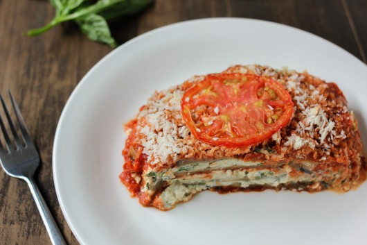 Eggplant Lasagna with Ricotta and Cashew Cheese - Luminous Vegans