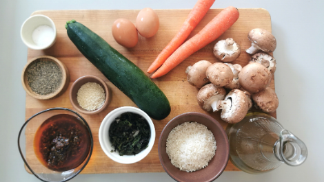 ingredients for organic veggie bibimbap