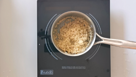 boil quinoa with water in a small pot