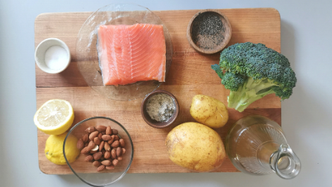 ingredients for Organic Trout with Potatoes and greens